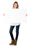 Woman holding banner Stock Images