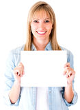 Woman holding a banner Royalty Free Stock Photography