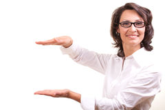 Woman holding a banner Royalty Free Stock Photos