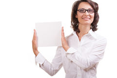 Woman holding a banner. Business young woman holding a banner Stock Image