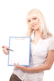 Woman holding a banner. Young blonde woman holding a banner Royalty Free Stock Photo
