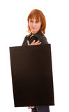 Woman holding banner royalty free stock photo