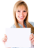 Woman holding a banner ad Royalty Free Stock Photo