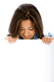Woman holding a banner ad Stock Photos