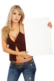 Woman holding a banner add Stock Photos