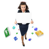 Woman holding banner Royalty Free Stock Photography