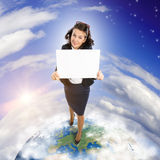 Woman holding banner Royalty Free Stock Images