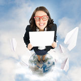 Woman holding banner Royalty Free Stock Image