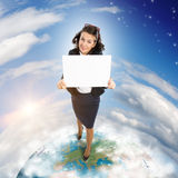 Woman holding banner Stock Photo