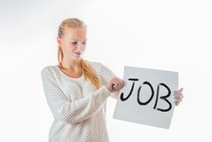 Woman holding banner with word job on it Royalty Free Stock Photos