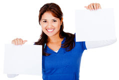 Woman holding banners Royalty Free Stock Photography