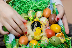 Woman holding a basket with easter painted eggs in the hands Stock Photography
