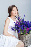 Woman holding a basket of lavender Stock Photos