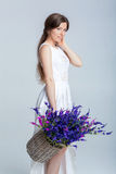 Woman holding a basket of lavender Royalty Free Stock Photography