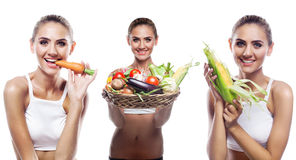 Woman holding basket with vegetable. Concept vegetarian dieting Stock Photography