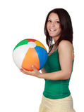 Woman holding a beach ball Stock Photos