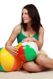 Woman holding a beach ball royalty free stock images