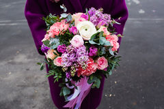 Woman holding beautiful bouquet of flowers Stock Photography