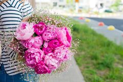 woman with bouquet of flowers royalty free stock photo
