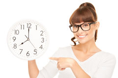 Woman holding big clock Royalty Free Stock Photo