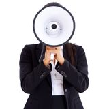 Woman holding big megaphone in front of her face Stock Photos
