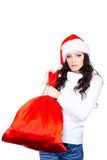 Woman holding big red bag Royalty Free Stock Image