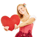 Woman holding big red heart Stock Image
