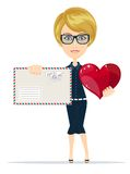 Woman Holding Big Red Heart in her Hands and envelope Royalty Free Stock Photography