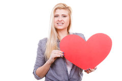 Woman holding big red heart, love sign Stock Photo