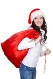 Woman holding big sack Stock Image