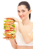 Woman holding big sandwich Royalty Free Stock Photos