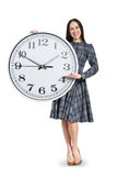 Woman holding big white clock Royalty Free Stock Photo