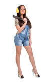 Woman holding big wrench Stock Photography