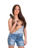 Woman holding big wrench Stock Photos