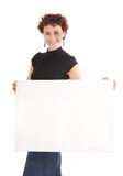 Woman holding billboard Stock Image