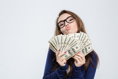 Woman holding bills of dollar Stock Photography