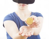Woman holding bitcoin artificial currency Stock Photography