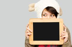 Woman holding Black board Stock Photo