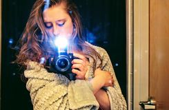 Woman Holding a Black Dslr Camera Stock Photos