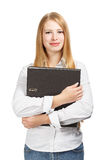 Woman holding black folder with both hands Royalty Free Stock Photo