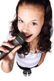 Woman Holding Black Microphone Stock Photography