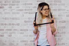 Woman Holding Black Photo Frame Stock Images