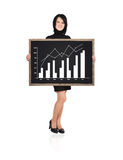 Woman holding blackboard. Businesswoman holding a blackboard with chart profits Stock Photos