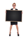 Woman holding blackboard Royalty Free Stock Images