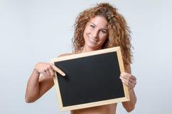 Woman Holding blackboard Stock Photos
