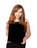 Woman holding blackboard. Royalty Free Stock Image
