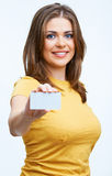 Woman holding blanc card Royalty Free Stock Photography