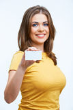 Woman holding blanc card Royalty Free Stock Image