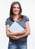 Woman holding blanc card Stock Images
