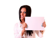 Woman holding a blank Stock Images